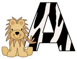 JUNGLE ALPHABET LETTER MONKEY ZEBRA GIRAFFE LION WALL ART BORDER