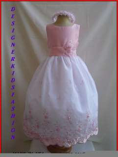 DK27 PINK CHILDREN PAGEANT PARTY KIDS FLOWER GIRL DRESS