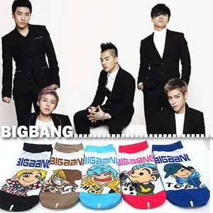 POP BIGBANG KOREA SUPER STAR CHARACTER WOMEN SOCKS, 5PAIRS