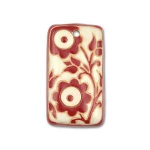 White with Red Flowers Large Rectangle Pendant Arts, Crafts & Sewing