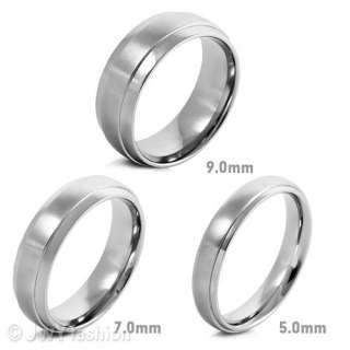Size 8 12 MENS Silver Stainless Steel Striped Vintage Rings Wedding