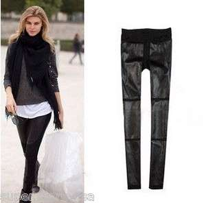 WOMEN Girl Fashionable Black Leather Stretch Tights Pants Leggings XS