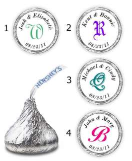108 MONOGRAM WEDDING KISSES CANDY LABELS FAVORS PERSONALIZED WRAPPERS