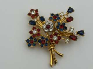 Vintage Weiss Patriotic Red White Blue Rhinestone Flower Brooch Pin