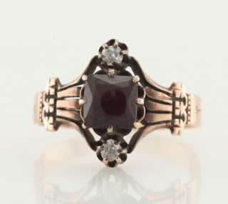 Antique 14k Yellow Gold Cushion Cut Cabochon Garnet Diamond Ring