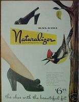 1945 WWII Naturalizer Black Suedes Women Shoes Bird AD