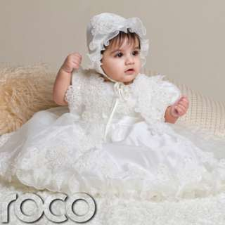 Baby Girls Ivory Christening Dresses Embroidered Dress Bonnet Overcoat
