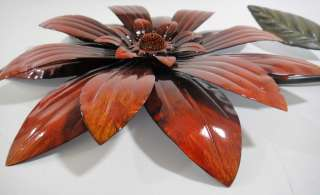 Contemporary Metal Wall Art   Red Flower Head On Stem
