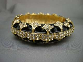 JAY LANE *COUTURE* BLACK & GOLD CRYSTAL ART DECO BANGLE BRACELET NEW