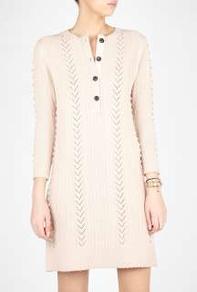 Farhi by Nicole Farhi  Wool Cashmere Cable Knit Sweater Dress by