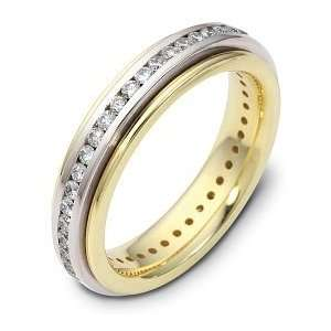 14 Karat Yellow Gold 38 Diamond SPINNING Wedding Band   6.25 Jewelry