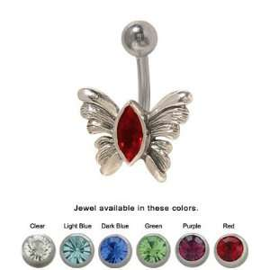 Butterfly Belly Ring Surgical Steel with Jewel   SN02 Jewelry