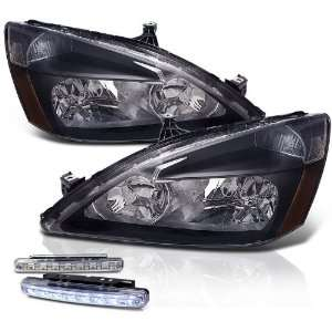 03 07 Honda Accord Chrome Head Lights+led Bumper Fog Lamp Pair New Set