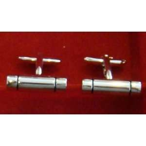 Polished Silver Bar Cufflink Wedding Fathers Day