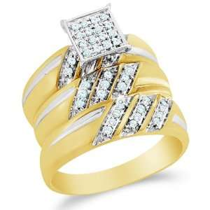 Size 8   10K Two Tone Gold Diamond Mens and Ladies Couple