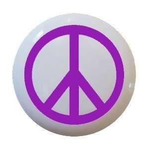 Purple Peace Sign Ceramic Knobs Pulls Kitchen Drawer