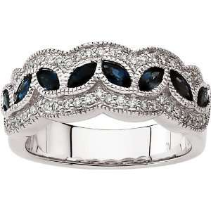 14 karat white gold Sapphire & Diamond Band Diamond