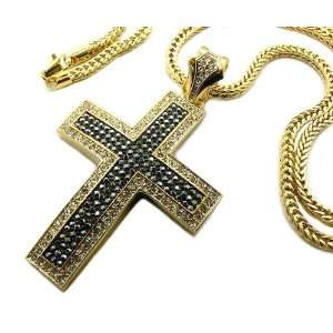Gold and Black Iced Out Two tone 3D Cross Pendant and 36 Inch Franco