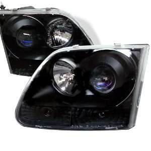 97 02 Ford F 150 Projector Head Lights   Black Automotive