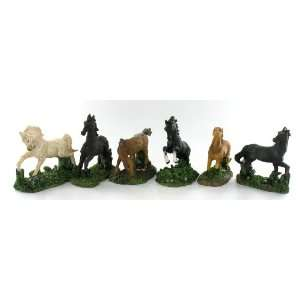 Horse Statue Pony Set of 6 Styles Figure Figurines