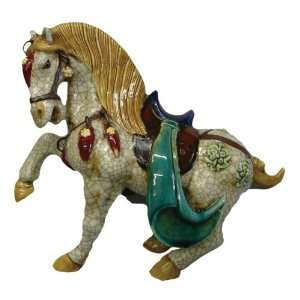 Ceramic Horse with Saddle   Off White Crackle Glaze with Red, Green
