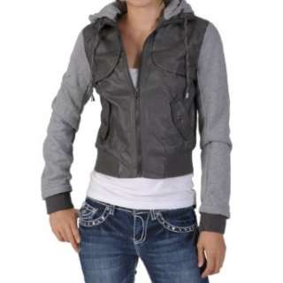 by Journee Juniors PU Leather Knit sleeve Varsity Jacket Clothing