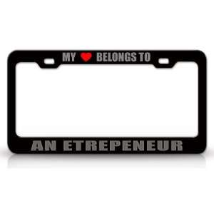 Metal Auto License Plate Frame Tag Holder, Black/Silver Automotive
