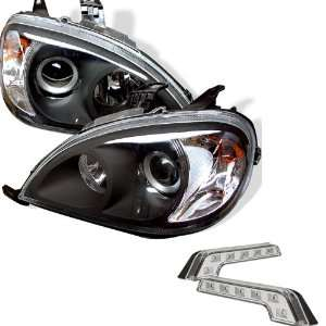 W163 Black Projector Headlights and LED Day Time Running Light Package
