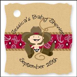 Little Cowboy   20 Personalized Baby Shower Die Cut Card Stock Tags