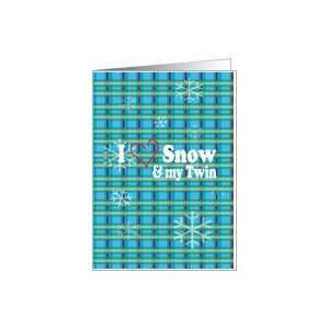 Twin Plaid I Love Snow Christmas Card Health & Personal
