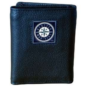 MLB Seattle Mariners Genuine Leather Tri fold Wallet Sports
