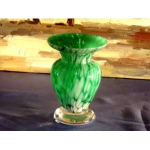 Alicja Polish Hand Made Mouth Blown Small Green Vase