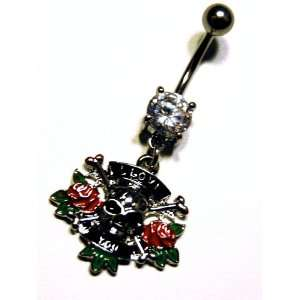 Dangle Belly Ring with Cz Gem   I Love You Pirate