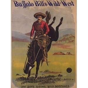 BUFFALO BILLS WILD WEST AMERICAN COW BOYS RIDING WILD