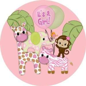 Girl Jungle Safari Baby Shower Round Sticker