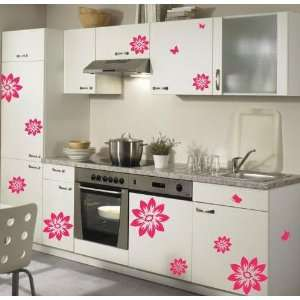 Pink Flower Decor Mural Art Sticker Wall Paper WDC 515