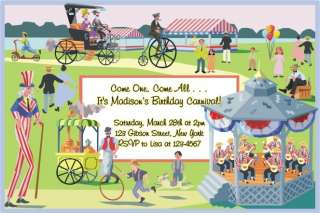 Personalized CIRCUS CARNIVAL Birthday Party Invitations