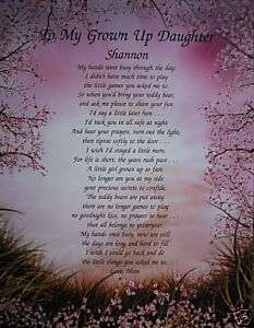 PERSONALIZED DAUGHTER POEM BIRTHDAY OR CHRISTMAS GIFT