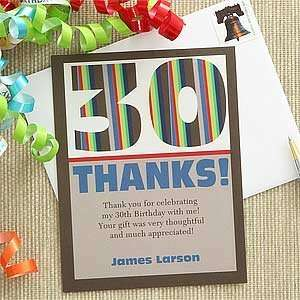 Custom Personalized Birthday Thank You Cards   Stripes