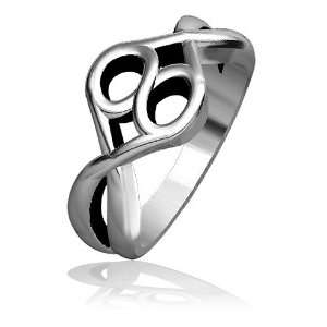 Infinity Hearts Ring with Black Finish, Love Ring, 10mm in